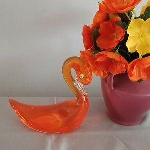 ORANGE paperweight SWAN Duck Murano CRYSTAL glass
